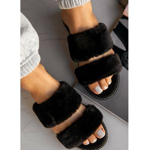 Just In!🖤Fur Slip-On Sandal - Black